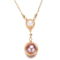 Anhänger Natürliche Süßwasserperlen Halskette 14k vergoldete Mode Halskette für Frauen Mädchen Kette Halskette Schmuck