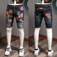 Embroidery Patches Stone Wash Bleached Denim Shorts Men'...