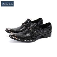 Обувь для одежды Кристиа Белла Черный Бизнес Мужчины Змеиный Узор Настоящий Кожаный Офис Большой Размер Формальный Брогей Мужской