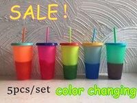 Farbe 710ml Temperatur ändern Cup Plastikbecher Kaltes Getränk Flasche mit Strohhalm und Deckel Magic Trinkbecher Sommer Trinkgefäße Kostenloser Versand