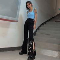 Pantalones para mujer Capris Streetwear Butterfly Impreso oscuro Blareta negra Split Pantuelo Bell Bell Bottom High Cintura Alta Mujeres Harajuku Moda Cute Kore