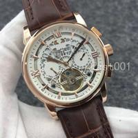Leder Top Fashion Mechanische Herren Edelstahl Rose Gold Automatik-Uhrwerk Uhr-Sport-mens watchesa Armbanduhr