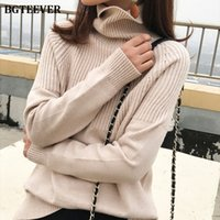 BGTEEVER Vintage Thicken Striped Women Sweaters Autumn Winte...