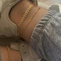 3pcs / Summer Set Plage vacances métal Anklet pied cheville Bracelet Bracelets de cheville de la chaîne pour femmes Bracelets sur la jambe Aaccessories Bohème Bijoux