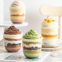 50 set di alta qualità tazza di yogurt carina bicchieri di plastica scatola di favori della festa di compleanno dessert torta packaigng budino gelato con coperchio