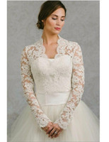 Long Sleeve Wedding Wrap Jacket White& Ivory Lace Bridal Wra...