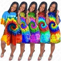 2020 Sommer-Designer Tie Dye-Kleid-Frauen Aufmaß lose Kleider Kurzarm-T-Shirt Langen Overall Bikini Abdeckung 7 Rainnbow Farben D71611