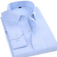 Мужские платья рубашки макросея классический стиль формальный бизнес сплошной цвет мужчины социальный с длинным рукавом твил