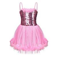 Bühnenabzug Fonlam Mädchen Pailletten Camisole Balletttanz Trikots Tutus Fairy Kostüme Prinzessin Kleid Ballerina Outfits für Ballsaal