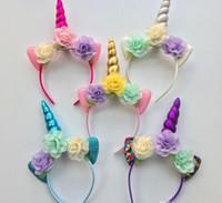 Детская headban Блеск Metallic Unicorn стяжкой Девушки шифоновые цветы Hairband Для детей листьев цветок Unicorn Horn партии Аксессуары для волос