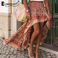 Everkaki Boho Print Long Skirts Women Bottoms Elastic Waist Gypsy Ethnic Ladies Skirt Female 2020 Spring Summer New Fashion CX200708
