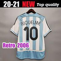 2006 Copa do Mundo Argentina Argentina Retro Jersey Casa Camisa Messi 19 Carlos Tevez Roman Riquelme Cambiasso Cresso Camisa de Futebol Gajriel Heinze