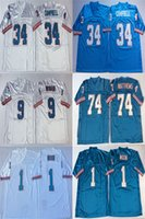 NCAA 1 Warren Moon Jersey Herren 9 Steve McNair 74 Bruce Matthews 34 Earl Campbell Blue White Retro Football Trikots genäht