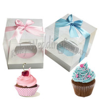 "100pcs PVC 3. 5"" Square Transparent Wedding Cupcake Boxe..."