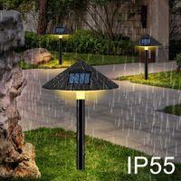 EXPORTORD LED Solaire Solar pelouse Solaire Ombrella Shade Lampe Champignon Bouchon d'ombre Lumière IP55 Blanc / Chaud Blanc Solaire Jardin Lumière