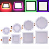 LED 통 원형 광장 6W 9W 16W 24W 3 모델 LED 램프 더블 컬러 패널 빛이 컬러 천장 매입 형 조명 실내 조명