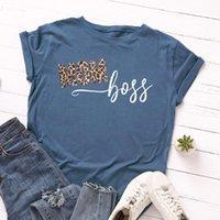Женская футболка негабаритных женщин хлопчатобумажная футболка лето с коротким рукавом леопарда мама буква женщина свободная повседневная футболка плюс размер леди