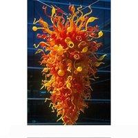 레드 오렌지 색상 크리스탈 손 불어 유리 현대적인 스타일의 체인 샹들리에 조명 펜던트 대형 크기 무라노 유리 램프
