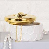 Nordic mano de cerámica simple caja de oro Tanque de almacenamiento Caja de almacenamiento abeja europea Botella princesa decorativo Inicio Adornos tarro del caramelo