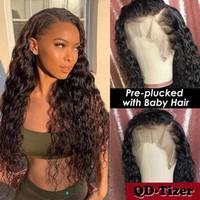 PRELUCKED NETURAL NETURAL LONG PIEZA LONGA LARGA LONGA LANZADA BARAZA SINTÉTICA Pelucas delanteras resistentes al calor Fibra suave 10% Pelucas de cabello humano Mujeres negras