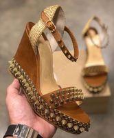 Şık Stil Bayanlar Kırmızı Alt takozları Cordorella Lata Cataclou Sandalet Süper Kalite Çivili Bilek Kayışı Kadınlar Yüksek Topuklar EU35-42