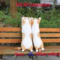 Juguetes de peluche Animal Gato lindo creativo largo Oficina Juguetes blandos Hora de la almuerzo de la siesta Dormir Cojín almohada rellena muñeca del regalo para Kidsnishui