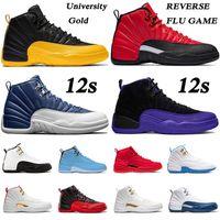 Zapatos nike air jordan retro 12 aj 12s jumpman xii Stone Blue zapatillas de baloncesto University Gold FLU GAME DARK CONCOR FIBA Bulls French Blue mujer hombres Trainers Sneakers