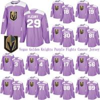 Vegas Altın Şövalyeler Mor Kanser Jersey 29 Marc-Andre Fleury 75 Ryan Reaves 61 Mark Stone 19 Reilly Smith Hokeyi Formalar Mücadele Ediyor