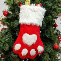Рождественские носки чулки Длинноволосая собака лапы дизайнер рождественские украшения носки рождественские носки подарочные сумки S дерево украшения оптом