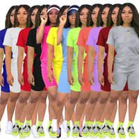Frauen 2-teiliges Set Anzug T-Shirts + Shorts Jogger-Klage-festes Outfits Plus Size Sommer-beiläufige Cothes Sweatsuit Fashion Sportswear S-2XL