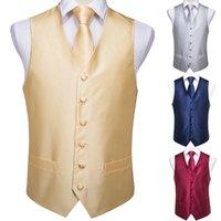 Solid Gold привет-Tie мужской костюм жилет набор для мужчин 100% Silk Жилет Жилет Галстук Платок Запонки набор для свадьбы часть бизнеса