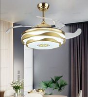"""Modern Ceiling Fan Music LED Light With Remote Control Mobile Phone APP Bluetooth Ceiling Fans 42"""" Invisible Bedroom Decor Lamp LLFA"""