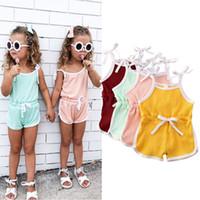 4 Cores Ins Bebê Menina Suspender Romper Jumpsuits Infantil Bebê Outfits Crianças Vestuário Vestuário de Verão