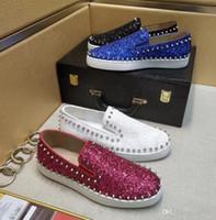White Glitter Italien LUXEY Schuh-rote Unterseite Turnschuhe Pik Boote Loafers Schuhe Herren rote Sohlen Turnschuhe Kleid Flache Schuhe mit Spikes