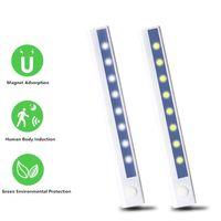 Noche sensor inteligente de cuerpo inalámbrico de luz LED PIR magnética de barrido de movimiento infrarrojos LED de la lámpara de mano lámpara de pared de la sala para gabinete Escaleras