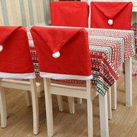 Chair Natale Copristerzo Red Hat Babbo Sedia per sala da pranzo Decor non tessuto della decorazione del partito di Natale Copertura della sedia KKA7983