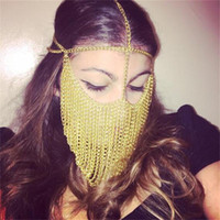 Masques Designer Gold Femmes Party Celebrity Metal Head chaîne Masque Parti Nightclub Reine Style de Break Dance DJ Musique Masques