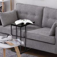 Sala de estar móveis portáteis laterais de chá tabelas pretas mdf bancadas cinzas de ferro forjado base única mesa lanche