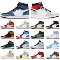 Nike Air Jordan 1 1s off white Jordan Retro 1 travis scott الجملة Jumpman 1 التعادل صبغ العليا OG ضوء دخان رمادي إمرأة رجل أحذية كرة السلة ترافيس سكوت 1 خوف الرجال