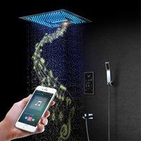 16 인치 비 폭포 음악 샤워 세트 주도 욕실 천장 샤워 헤드 화면 터치 3 방법 믹서 밸브를 장착