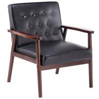 Retro Brown Lounge Chair moderne Tissu Chaise rembourrée en bois canapé salon salle à manger mobilier en bois pour chaises