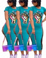 Les femmes Robes noires MATTER lettres Imprimer VIES cassé Trou manches courtes T-shirt Slim Dress Sexy One Piece Robe Jupes S-3XL D71401
