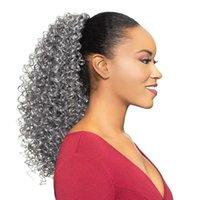 cinza cabelo Virgin natrual Grey cabelo Kinky culry Rabo extensão do cabelo Real Rabo Clipe do sopro do Afro Em cordão Ponytails lasca