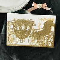 2020 invitación de la boda del brillo del oro carro del caballo del corte del laser dulce 16 invitaciones rústicas para imprimir invitaciones de cumpleaños de Quinceanera Invite