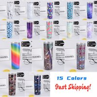 15 Patterns 20oz Colorful Skinny Tumbler with Straw Lid Stai...
