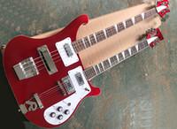 Fábrica Atacado Metálico Vermelho 4 + 12 Cordas Dobro Pescoço Ricken Guitarra Elétrica com Pickguard Branco, Rosewood Fretboard, pode ser personalizado
