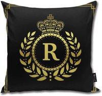Taç Defne Çelengi Black Gold Adının baş harfini Yastık Vücut Yastık Yastık Standart 18inch × 18inch = 45cm x 45cm Kare Yastık Dekorasyon atın