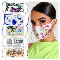 29 style Tie-dye face mask Butterfly Leaves Flowers 3D Mouth Masks Anti Haze dustproof Breathable Designer Mask YYA315