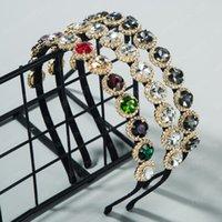 Новые поступления Летний Блестящий кристалл ободки для женщины Урожай Геометрическая Rhinestone Люкс Обручальное кольцо волос