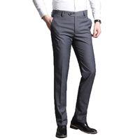Мужчины костюм брюки 2019 лето Мужчины платье Брюки прямые Бизнес офис брюки мужская Формальные Брюки и джинсы Классический Мужской Pantalon Hombre 38 CX200728